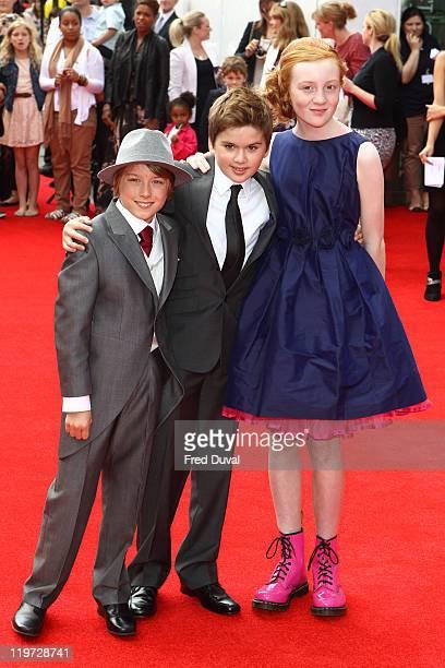Ross Marron, Theo Stevenson and Scarlett Stitt attend the world premiere of Horrid Henry at BFI Southbank on July 24, 2011 in London, England.