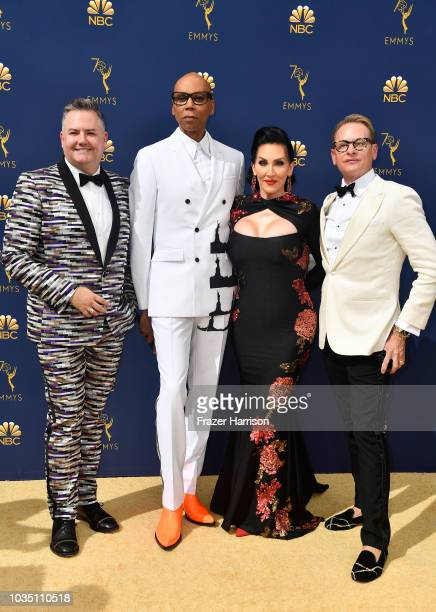 Ross Mathews RuPaul Michelle Visage and Carson Kressley attend the 70th Emmy Awards at Microsoft Theater on September 17 2018 in Los Angeles...