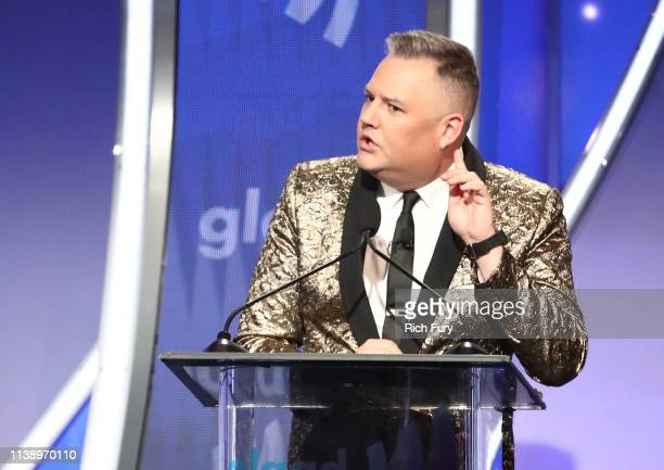 Ross Mathews speaks onstage during the 30th Annual GLAAD Media Awards Los Angeles at The Beverly Hilton Hotel on March 28 2019 in Beverly Hills...