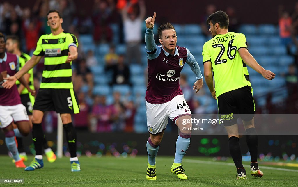 Ross McCormack of Aston Villa celebrates scoring his sides first goal during the Sky Bet Championship match between Aston Villa and Huddersfield Town at Villa Park on August 16, 2016 in Birmingham, England.