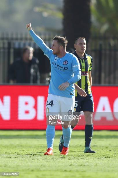 Ross McCormack of City celebrates a goal during the round 16 ALeague match between the Central Coast Mariners and Melbourne City at Central Coast...