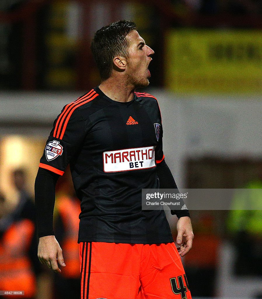 Ross McCormack of Fulham celebrates after scoring the first goal of the game during the Capital One Cup Second Round match between Brentford and Fulham at Griffin Park on August 26, 2014 in London, England.