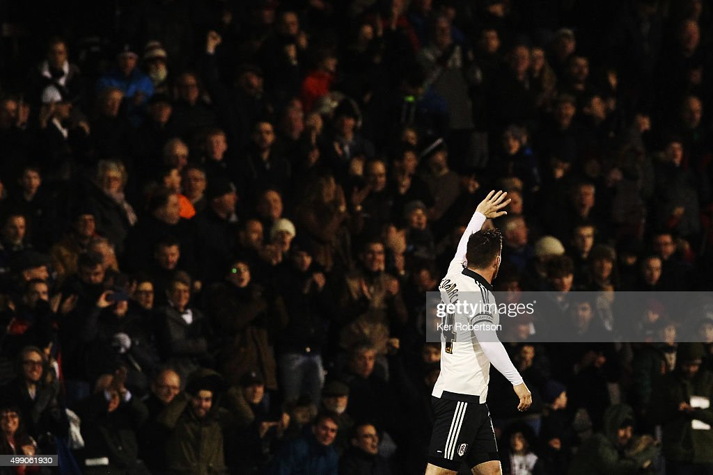 Ross McCormack of Fulham celebrates with the crowd after scoring during the Sky Bet Championship match between Fulham and Preston North End at Craven Cottage on November 28, 2015 in London, England.