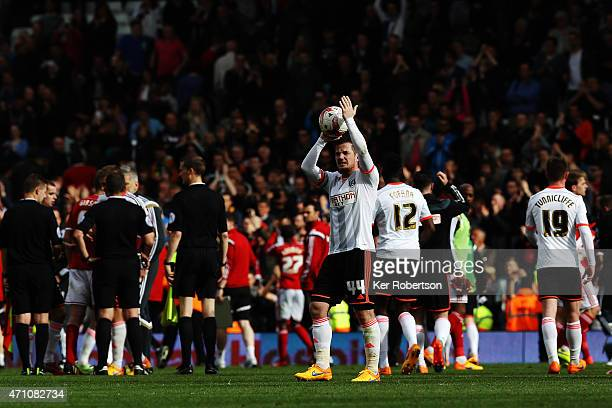 Ross McCormack of Fulham celebrates with the match ball after scoring a hattrick during the Sky Bet Championship match between Fulham and...