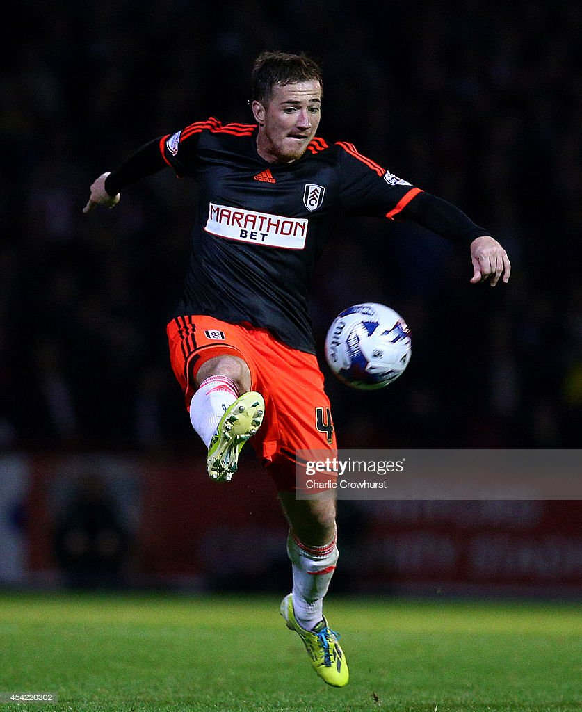 Ross McCormack of Fulham looks to bring the ball under control during the Capital One Cup Second Round match between Brentford and Fulham at Griffin Park on August 26, 2014 in London, England.