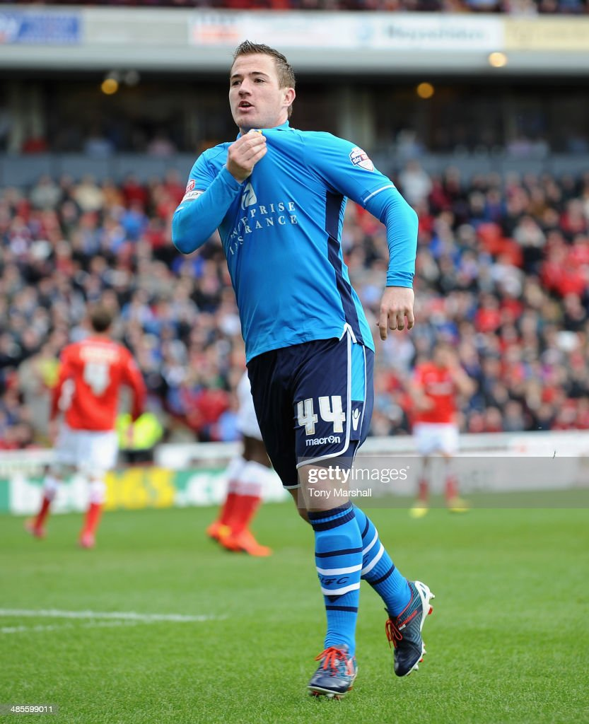 Ross McCormack of Leeds United celebrates scoring his team's first goal during the Sky Bet Championship match between Barnsley and Leeds United at Oakwell on April 19, 2014 in Barnsley, England,