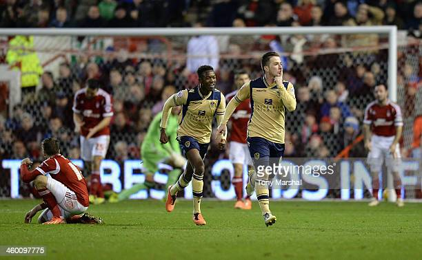 Ross McCormack of Leeds United celebrates scoring their first goal during the Sky Bet Championship match between Nottingham Forest and Leeds United...