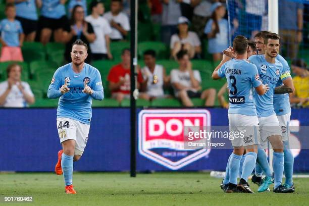 Ross McCormack of Melbourne City celebrates a goal during the round 14 ALeague match between Melbourne City and the Wellington Phoenix at AAMI Park...