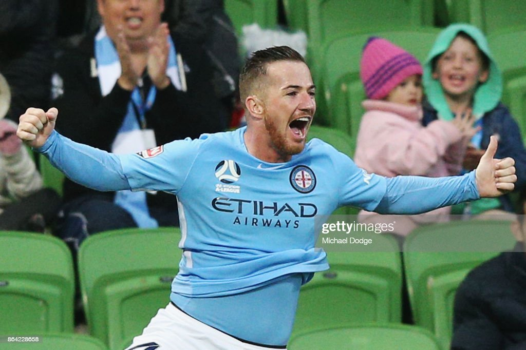 Ross McCormack of the City celebrates a goal during the round three A-League match between Melbourne City and the Wellington Phoenix at AAMI Park on October 21, 2017 in Melbourne, Australia.