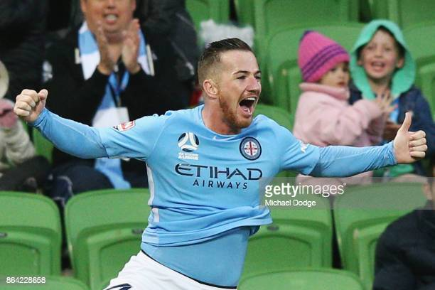 Ross McCormack of the City celebrates a goal during the round three ALeague match between Melbourne City and the Wellington Phoenix at AAMI Park on...