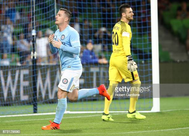 Ross McCormack of the City celebrates after he scored his penalty kick during the round six ALeague match between Melbourne City and the Western...