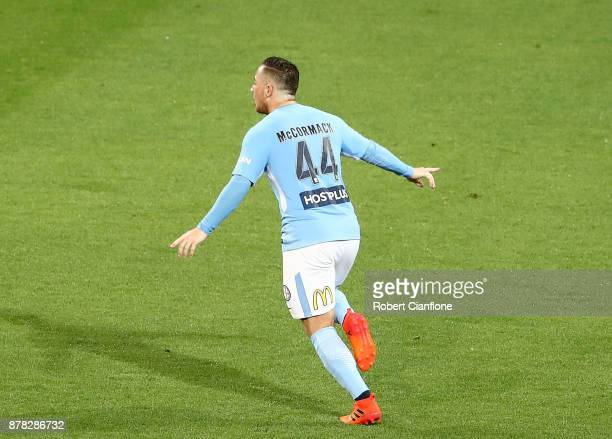 Ross McCormack of the City celebrates after scoring a goal during the round eight ALeague match between Melbourne City and Perth Glory at AAMI Park...