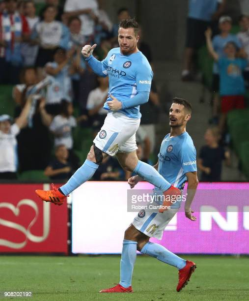 Ross McCormack of the City celebrates after scoring a goal during the round 17 ALeague match between Melbourne City and Adelaide United at AAMI Park...