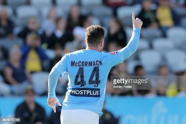 Ross McCormick of Melbourne City celebrates his goal during the round 16 ALeague match between the Central Coast Mariners and Melbourne City at...