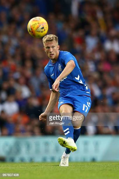 Ross McCrorie of Rangers in action during the UEFA Europa League Qualifying Round match between Rangers and Shkupi at Ibrox Stadium on July 12 2018...