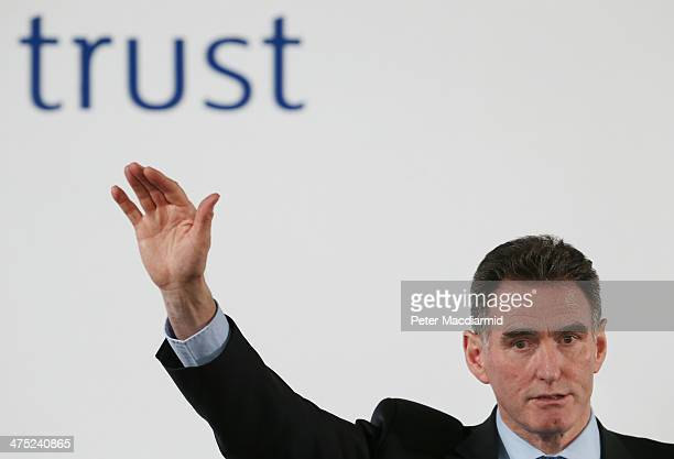 Ross McEwan Chief Executive of RBS speaks to reporters and investors on February 27 2014 in London England RBS has announced a pretax loss of £82bn...