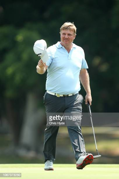 Ross McGowan waves to the crowd after getting a course record during day four of the 2018 Australian PGA Championship at Royal Pines Resort on...