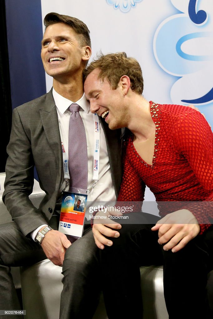 Ross Miner celebrates in the kiss and cry with his coach Mark Mitchell after skating in the the Men's Free Skate during the 2018 Prudential U.S. Figure Skating Championships at the SAP Center on January 6, 2018 in San Jose, California.