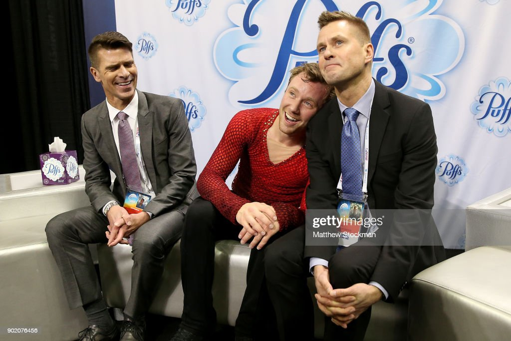 Ross Miner celebrates in the kiss and cry with his coaches Mark Mitchell and Peter Johansson after skating in the the Men's Free Skate during the 2018 Prudential U.S. Figure Skating Championships at the SAP Center on January 6, 2018 in San Jose, California.