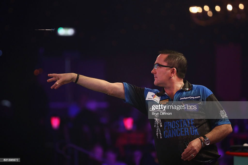 Ross Montgomery of Great Britain in action during his first round match on day four of the BDO Lakeside World Professional Darts Championships on January 10, 2017 in Frimley, England.
