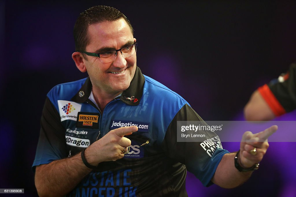 Ross Montgomery of Great Britain reacts during his first round match on day four of the BDO Lakeside World Professional Darts Championships on January 10, 2017 in Frimley, England.