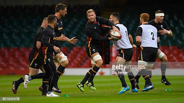 Ross Moriarty in action with team mates during the Wales captains Run ahead of their match against Australia at Principality Stadium on November 4,...