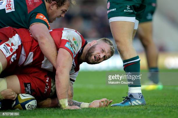 Ross Moriarty of Gloucester Rugby during the AngloWelsh Cup tie between Leicester Tigers and Gloucester Rugby at Welford Road on November 4 2017 in...