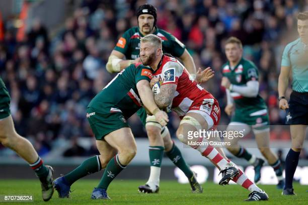 Ross Moriarty of Gloucester Rugby runs with the ball during the AngloWelsh Cup tie between Leicester Tigers and Gloucester Rugby at Welford Road on...