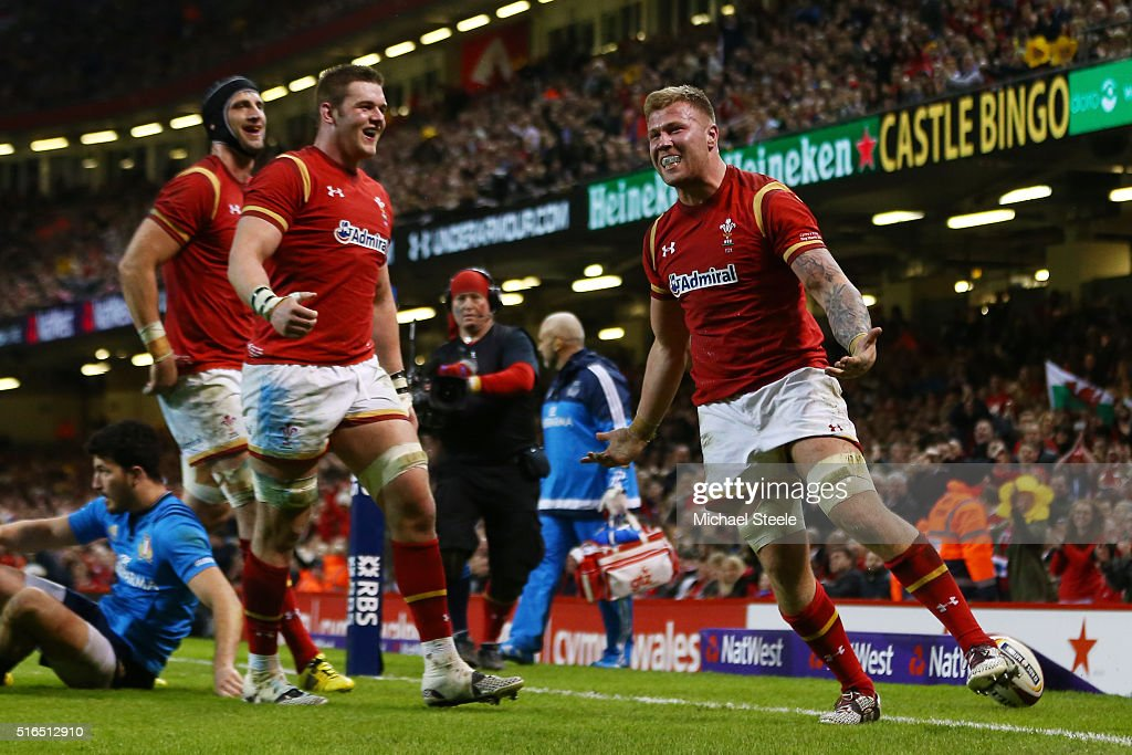 Ross Moriarty of Wales celebrates after scoring his team's seventh try during the RBS Six Nations match between Wales and Italy at the Principality Stadium on March 19, 2016 in Cardiff, Wales.