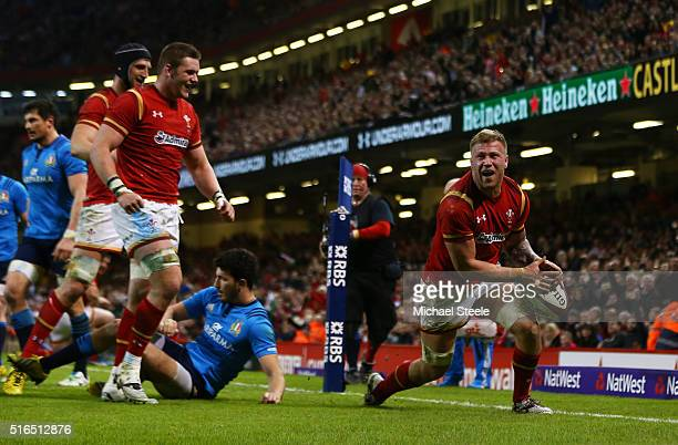 Ross Moriarty of Wales cxelebrates after scoring his team's seventh try during the RBS Six Nations match between Wales and Italy at the Principality...