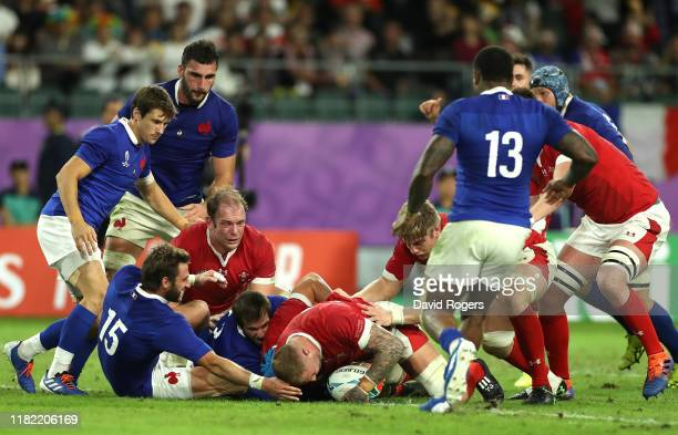 Ross Moriarty of Wales scores his team's second try during the Rugby World Cup 2019 Quarter Final match between Wales and France at Oita Stadium on...