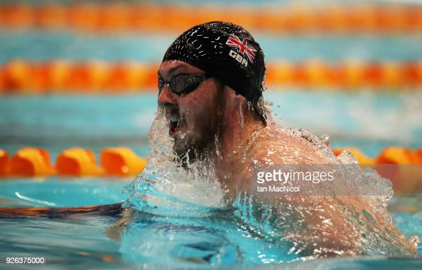 Ross Murdoch of University of Stirling competes in the Men's 200m Breastroke Final during The Edinburgh International Swim meet incorporating the...