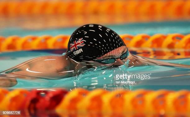 Ross Murdochof University of Stirling competes in the heats of the Men's 100m Breaststroke duringThe Edinburgh International Swim meet incorporating...