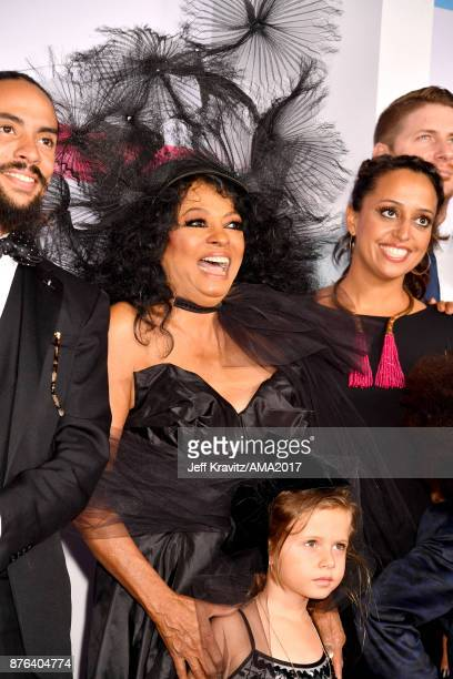 Ross Naess Diana Ross and Chudney Ross attend the 2017 American Music Awards at Microsoft Theater on November 19 2017 in Los Angeles California