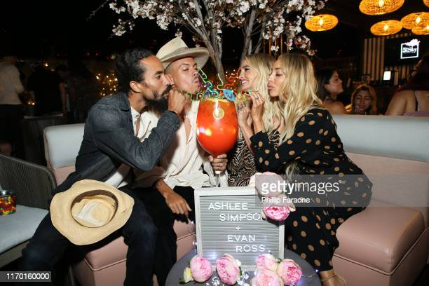 Ross Naess Evan Ross Ashlee Simpson Ross and Kim Naess celebrate Evan Ross's birthday at 5th Sky Rooftop Gardens Lounge And Sugar Factory At Theatre...