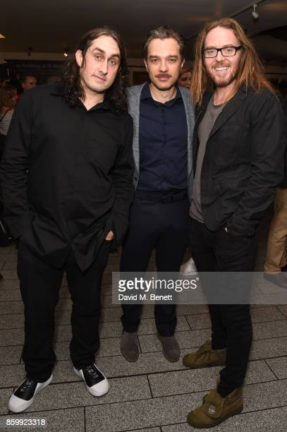 """Ross Noble, Hadley Fraser and Tim Minchin attend the press night performance of """"Mel Brooks' Young Frankenstein"""" at The Garrick Theatre on October..."""