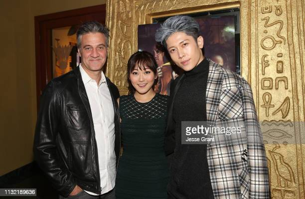 Ross Partridge, Karen Fukuhara and Miyavi attend the Stray World Premiere on February 25, 2019 in Los Angeles, California.
