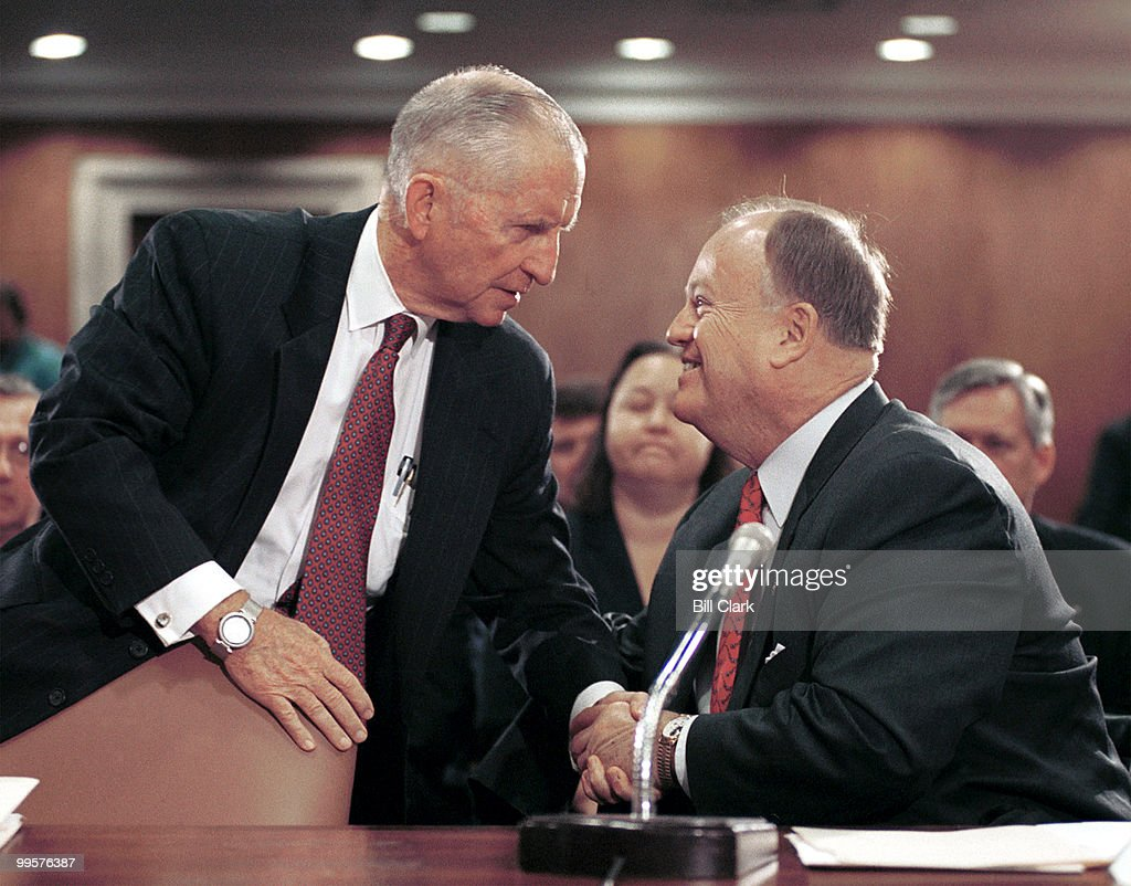 Ross Perot, CEO and Chairman of Perot Systems Corporation, greets Sen. Max Cleland, D-GA., after the Senator introduced Perot to the Senate Subcommittee on Labor, Health and Human Services, Education and Related Agencies hearing. Perot testified about Gulf War Illnesses.