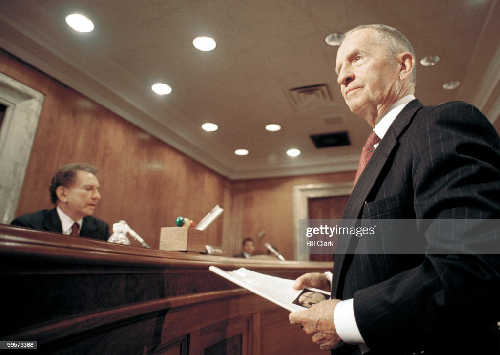 Ross Perot, CEO and Chairman of Perot Systems Corporation, shows a picture and a book to Senators before testifying about Gulf War Illnesses during the Senate Subcommittee on Labor, Health and Human Services, Education and Related Agencies hearing.