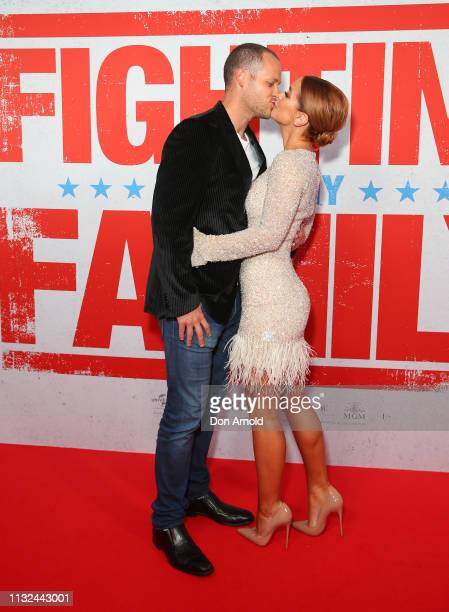 Ross Scutts and Ellie Gonsalves attend the Sydney premiere screening of Fighting With My Family at Event Cinemas George Street on February 27 2019 in...