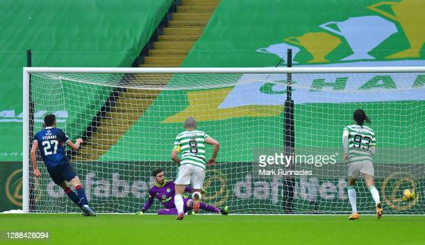 Ross Stewart of Ross County scores their team's first goal from the penalty spot during the Betfred Cup match between Celtic and Ross County at...