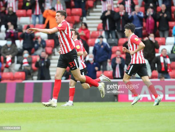 Ross Stewart of Sunderland scores the opening goal and celebrates during the Sky Bet League One Play-off Semi Final 2nd Leg match between Sunderland...