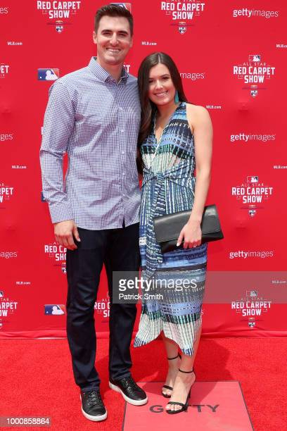 Ross Stripling of the Los Angeles Dodgers and the National League and guest attend the 89th MLB AllStar Game presented by MasterCard red carpet at...