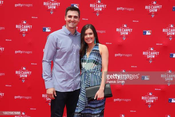 Ross Stripling of the Los Angeles Dodgers and the National League and guest attends the 89th MLB AllStar Game presented by MasterCard red carpet at...