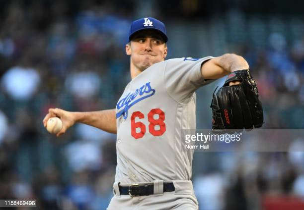 Ross Stripling of the Los Angeles Dodgers delivers a first inning pitch against the Arizona Diamondbacks at Chase Field on June 25, 2019 in Phoenix,...