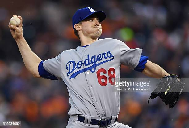 Ross Stripling of the Los Angeles Dodgers pitches against the San Francisco Giants in the bottom of the first inning at AT&T Park on April 8, 2016 in...