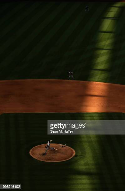 Ross Stripling of the Los Angeles Dodgers pitches during the fifth inning of a game against the Los Angeles Angels of Anaheim at Angel Stadium on...