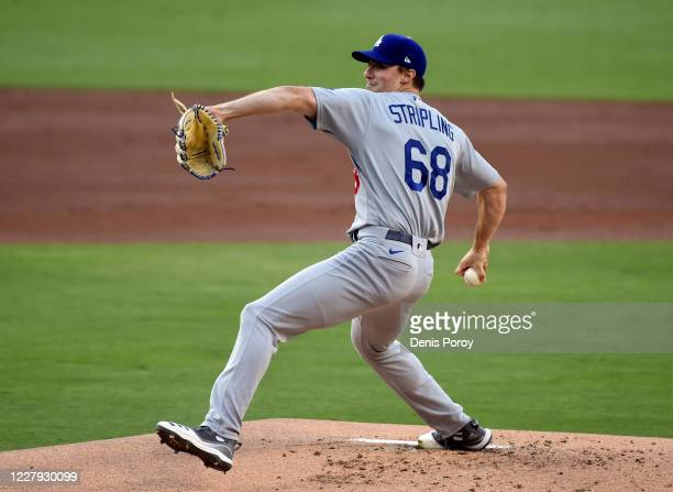 Ross Stripling of the Los Angeles Dodgers pitches during the first inning against the San Diego Padres at Petco Park August 5, 2020 in San Diego,...