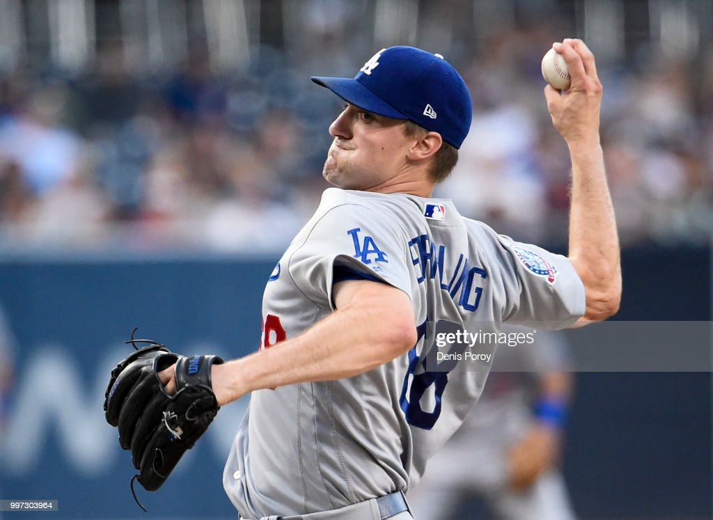 Ross Stripling #68 of the Los Angeles Dodgers pitches during the first inning of a baseball game against the San Diego Padres at PETCO Park on July 12, 2018 in San Diego, California.