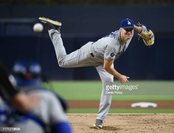Ross Stripling of the Los Angeles Dodgers pitches during the the first inning of a baseball game against the San Diego Padres at Petco Park September...